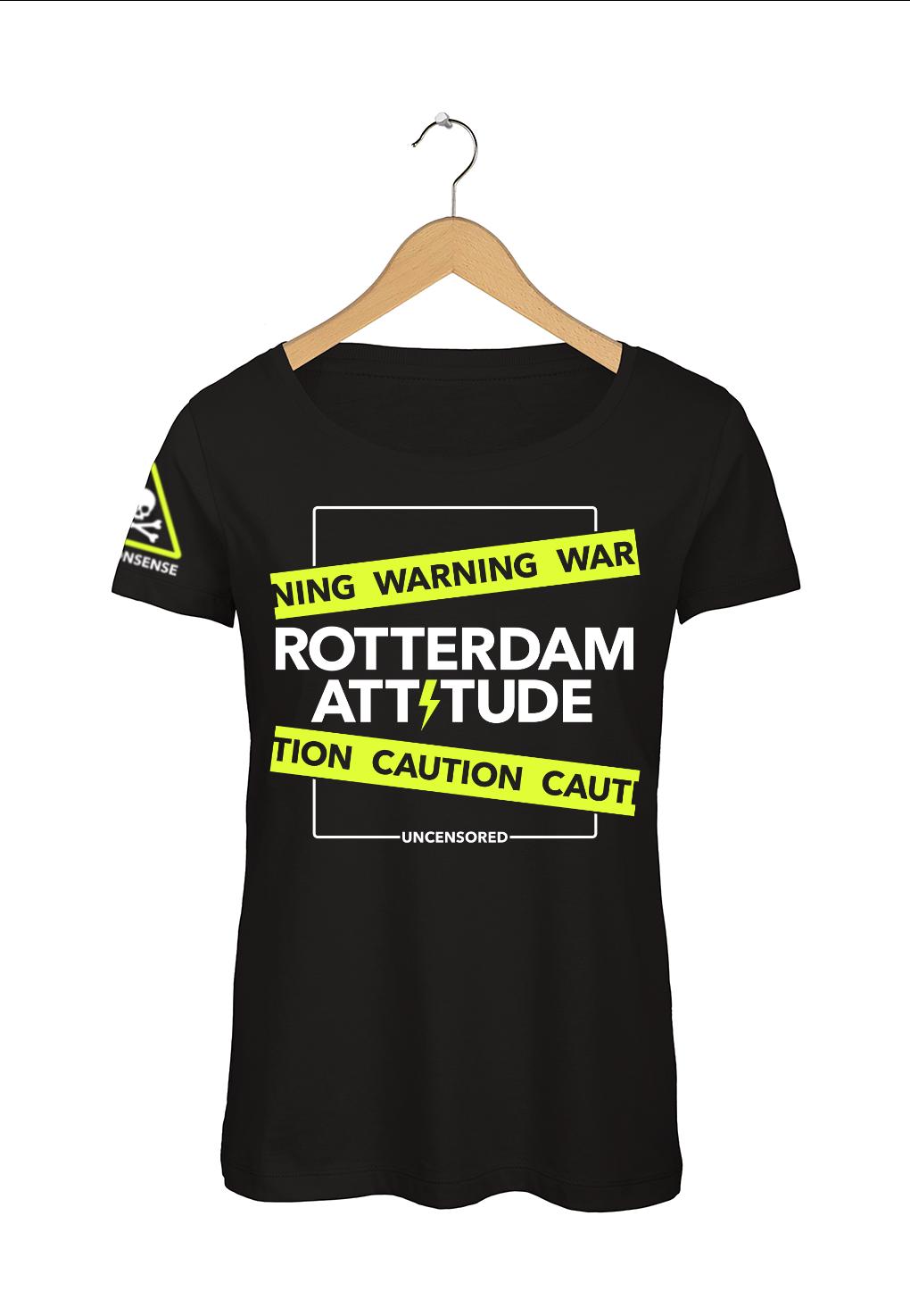 "Rotterdam T-shirt ""Rotterdam Attitude"" Zwart Voorkant"