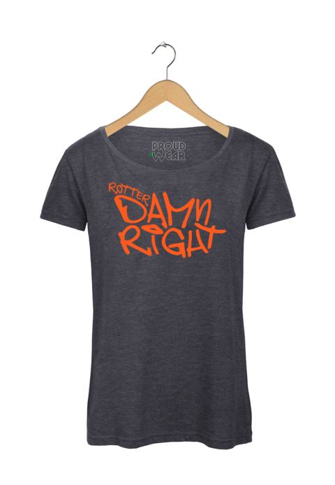 "Rotterdam T-shirt ""Rotterdamn right"" Donkergrijs NeonOranje"