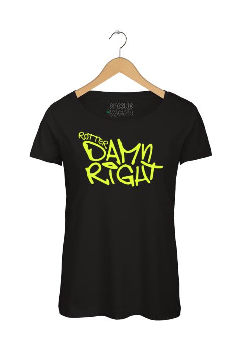 "Rotterdam T-shirt ""Rotterdamn right"" Zwart NeonGeel"