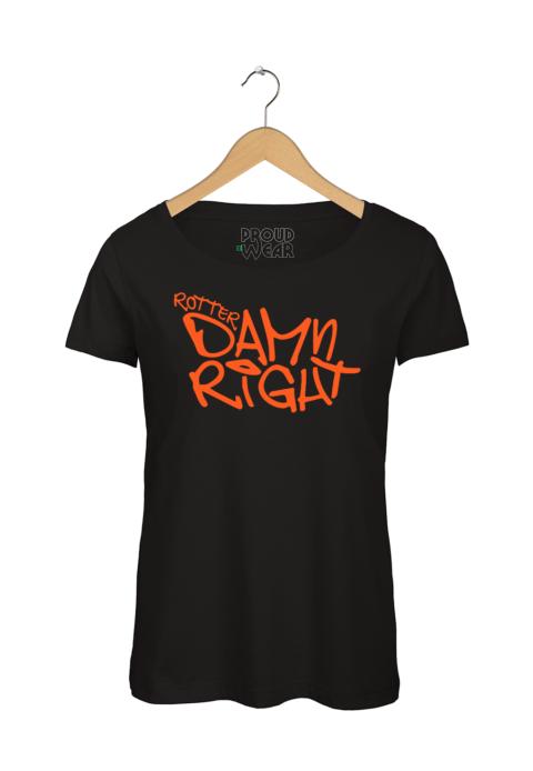 """Rotterdam T-shirt """"Rotterdamn right"""" Zwart NeonOranje"""